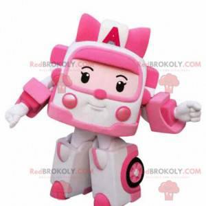 Weißes und rosa Spielzeugkrankenwagen-Maskottchen-Transformers