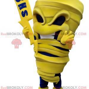 Maskot žluté a modré mumie s bleskem - Redbrokoly.com
