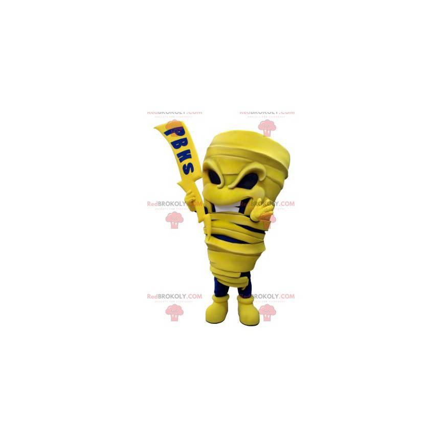 Maskottchen gelbe und blaue Mumie mit einem Blitz -