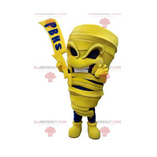 Mascot yellow and blue mummy with a lightning bolt -