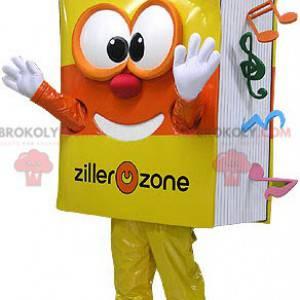 Velmi usměvavý maskot žluté a oranžové hudební knihy -