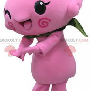 Růžový sněhulák maskot. Růžový květ maskot - Redbrokoly.com