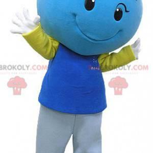 Gigantisk og smilende blå hjertemaskot - Redbrokoly.com