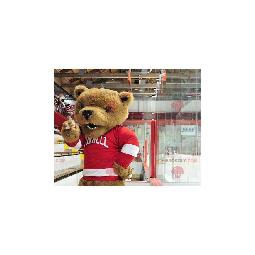 Maskot medvěd hnědý s červeno-bílým svetrem - Redbrokoly.com