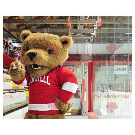 Brown bear mascot with a red and white sweater - Redbrokoly.com