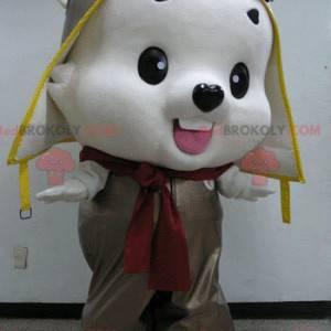 White teddy bear mascot in aviator outfit - Redbrokoly.com