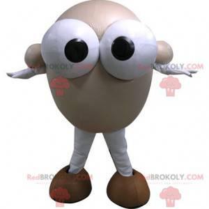 Round snowman mascot with big eyes - Redbrokoly.com