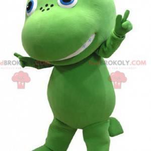 Giant and cute green and yellow dragon mascot - Redbrokoly.com