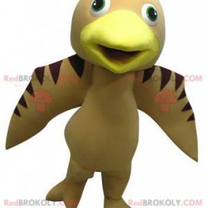 Maskotka beżowy brązowy i żółty ptak - Redbrokoly.com