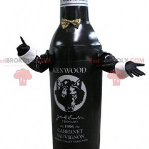 Czarno-biała maskotka butelki. Butelka wina - Redbrokoly.com