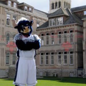 Black and white blue buffalo bull mascot - Redbrokoly.com