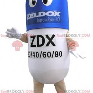 Modré a bílé pilulky maskot. Drog maskot - Redbrokoly.com