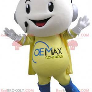 Telephone operator smiling snowman mascot - Redbrokoly.com