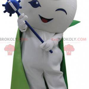 White snowman mascot with a cape and a wand - Redbrokoly.com