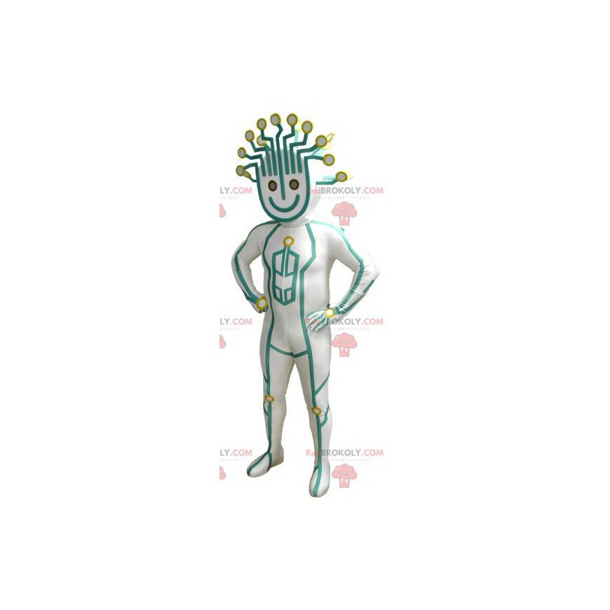 Maskot sněhuláka ve futuristické kombinaci - Redbrokoly.com