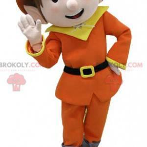 Leprechaun maskot kledd i oransje og gult - Redbrokoly.com