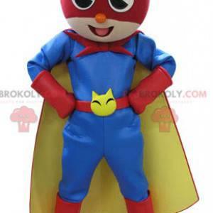 Cat mascot in colorful superhero outfit - Redbrokoly.com