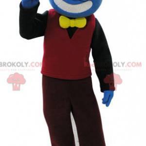 Maskotka niebieski bałwanek w kolorowym stroju - Redbrokoly.com