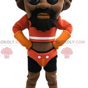 Afroamerikaner Mann Maskottchen im Wrestler Outfit -