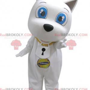 Maskot bílého psa s velkýma modrýma očima - Redbrokoly.com