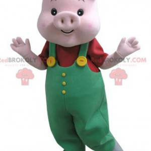 Rosa grismaskott med grønn kjeledress - Redbrokoly.com