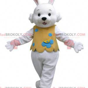 Biały królik maskotka w pomarańczowym stroju - Redbrokoly.com