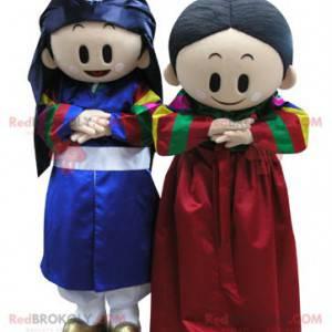 2 maskoti chlapce a dívky v barevném oblečení - Redbrokoly.com