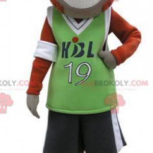 Orange und graues Affenmaskottchen in Sportbekleidung -