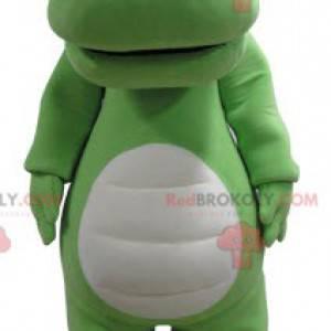 Gigantisk grønn og hvit krokodille maskot - Redbrokoly.com