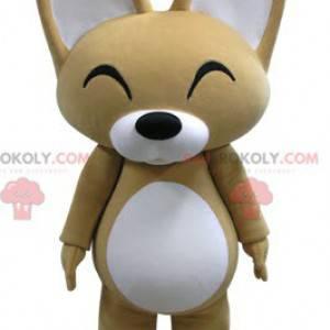 Maskot béžová a bílá liška s velkýma ušima - Redbrokoly.com