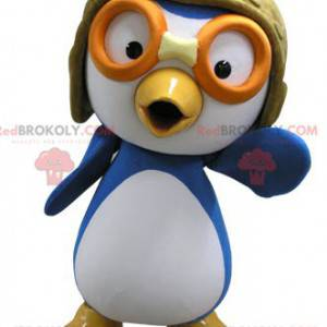 Modré a bílé pták maskot v letec oblečení - Redbrokoly.com