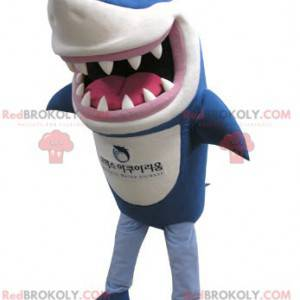 Blue and white shark mascot looking fierce - Redbrokoly.com