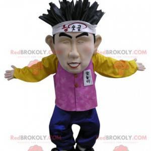 Asiatisches chinesisches Mannmaskottchen im bunten Outfit -