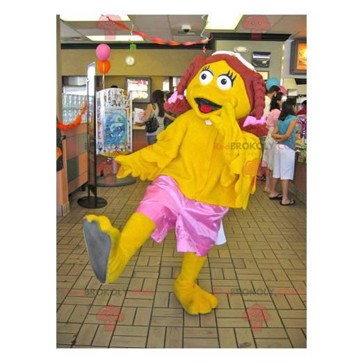 Dívka žlutá kachna maskot s copánky - Redbrokoly.com