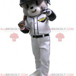 Szary i biały miś maskotka w stroju baseballowym -