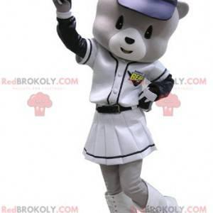 Gray and white bear mascot in baseball outfit - Redbrokoly.com