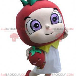 Maskot červené a zelené jahody - Redbrokoly.com