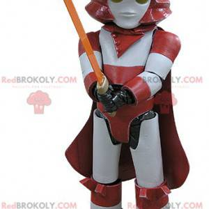 Mascota Darth Vader. Mascota robot rojo y blanco -