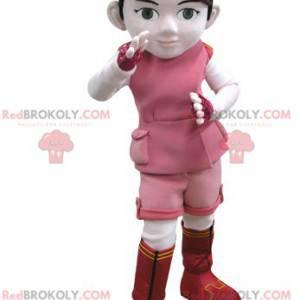 Dívka maskot v růžové a bílé oblečení - Redbrokoly.com