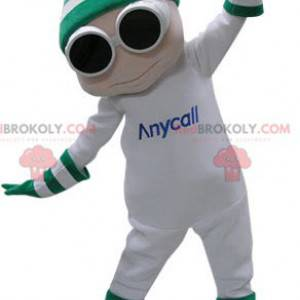 Maskot bílý sněhulák s brýlemi a čepicí - Redbrokoly.com