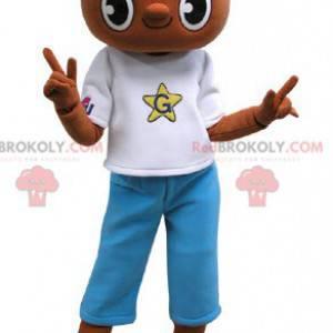Maskot hnědý medvídek s modrobílým oblečením - Redbrokoly.com