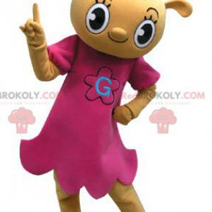 Žlutý medvídek maskot oblečený v růžových šatech -