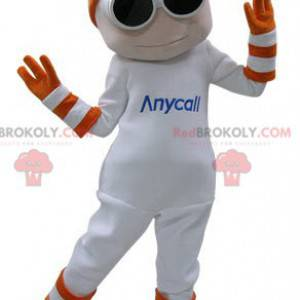 Maskot bílý sněhulák s brýlemi a rukavicemi - Redbrokoly.com