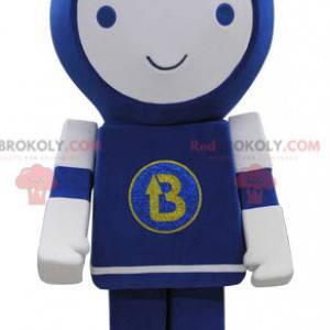 Blaues und weißes Robotermaskottchen lächelnd - Redbrokoly.com