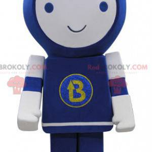 Modré a bílé robot maskot s úsměvem - Redbrokoly.com