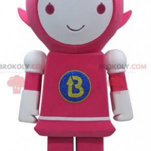 Růžový a bílý robot maskot s úsměvem - Redbrokoly.com