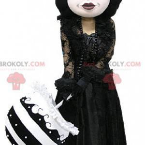 Gotický make-up žena maskot oblečený v černém - Redbrokoly.com