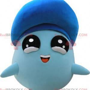Kulatý modrý maskot sněhuláka s velkými černými očima -
