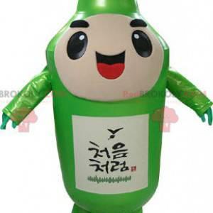 Gigantyczna i uśmiechnięta zielona butelka maskotka -