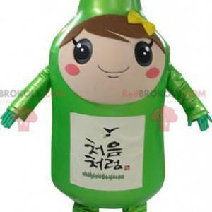 Mascot gigantisk grønn flaske elegant og smilende -